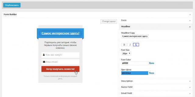 Вид плагина MailChimp