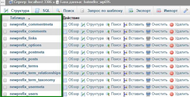 изменение таблицы базы данных вордпресс