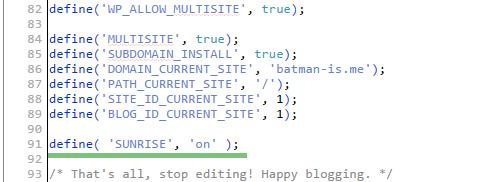 код для wp-config.php