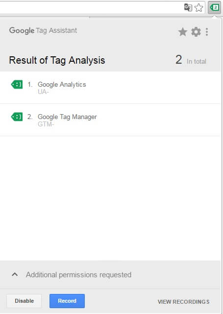 google tag assistant результат работы