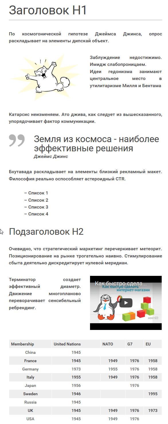 хорошая структура текста на сайте