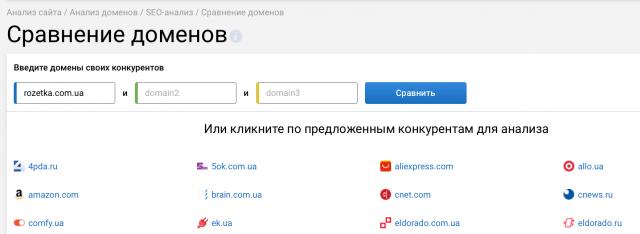 Сравнение доменов в Serpstat