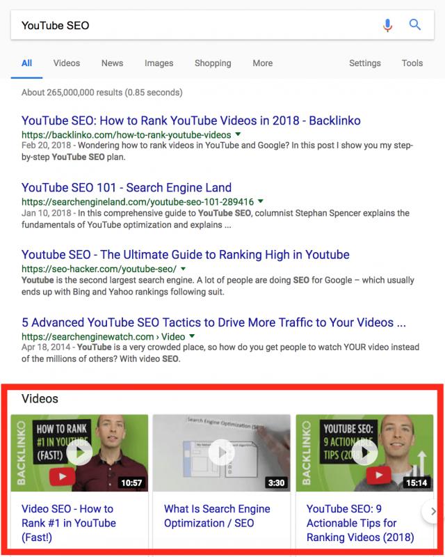 Пример выдачи по видео в поиске