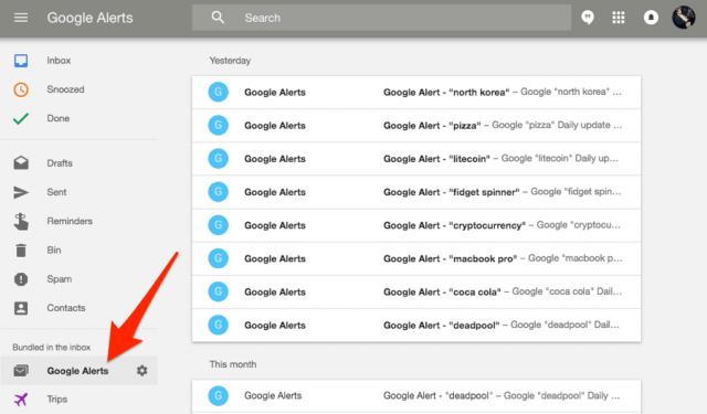 Cортировка оповещений с помощью Google Inbox