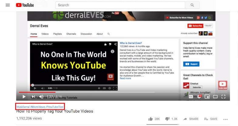 Использование хештегов в видео
