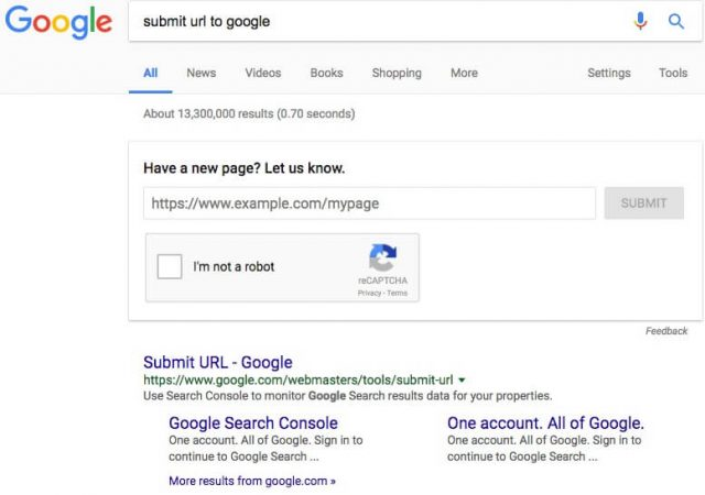 Добавление страницы на индексацию в Google