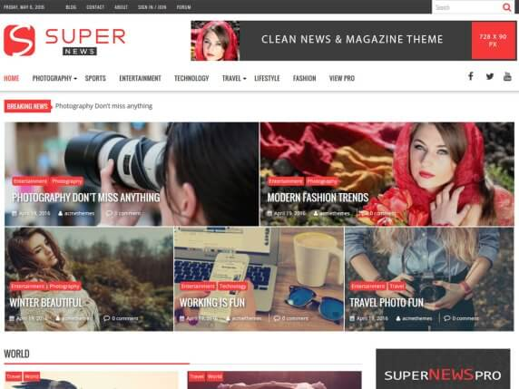 wordpress тема SuperNews