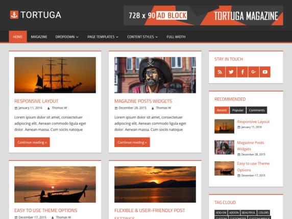 wordpress тема Tortuga