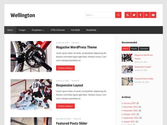 wordpress тема Wellington