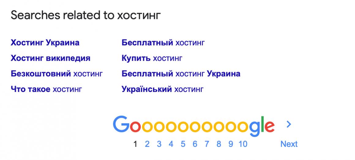похожие поисковые запросы в Google