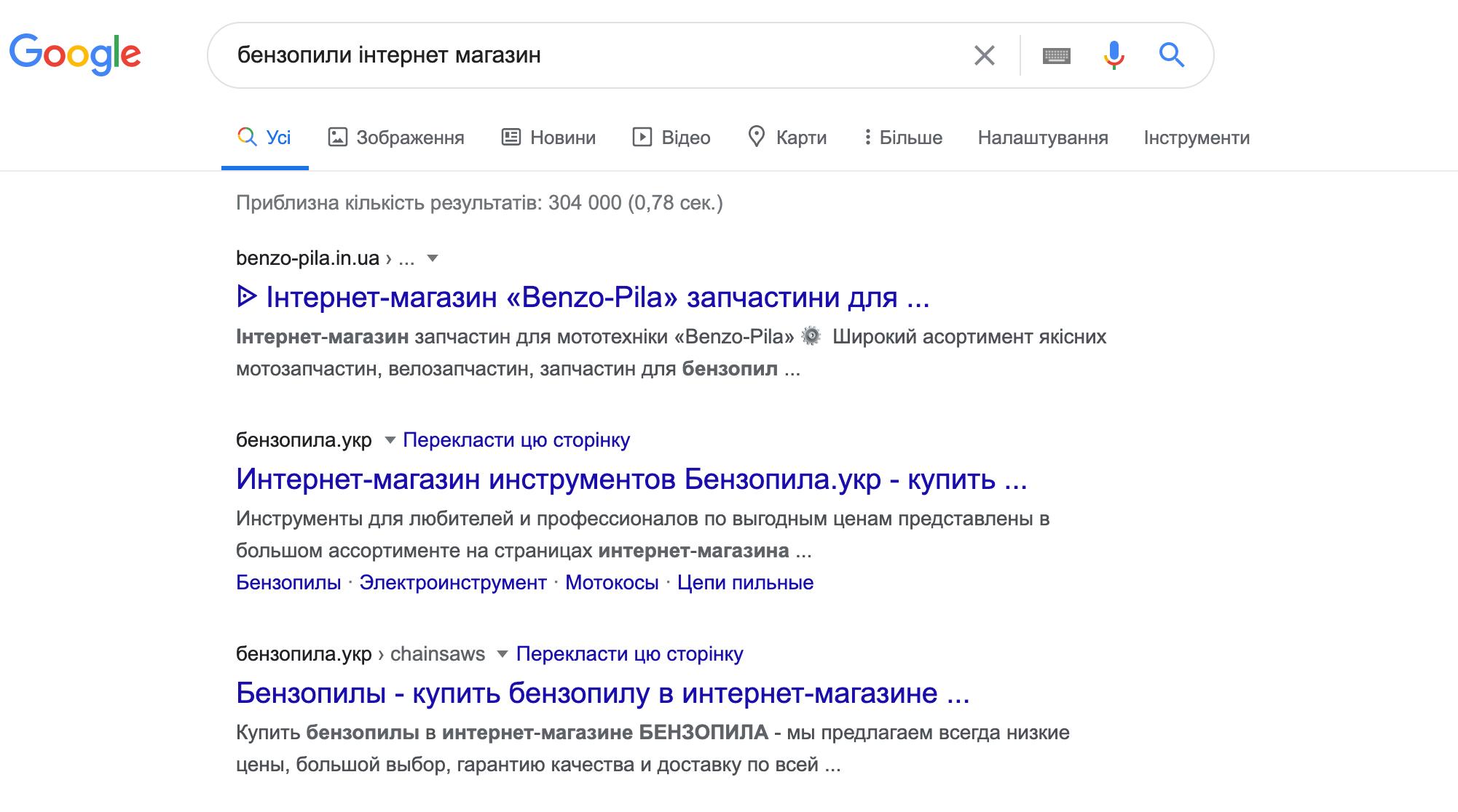 Приклад ранжування кириличного домену на перших місцях