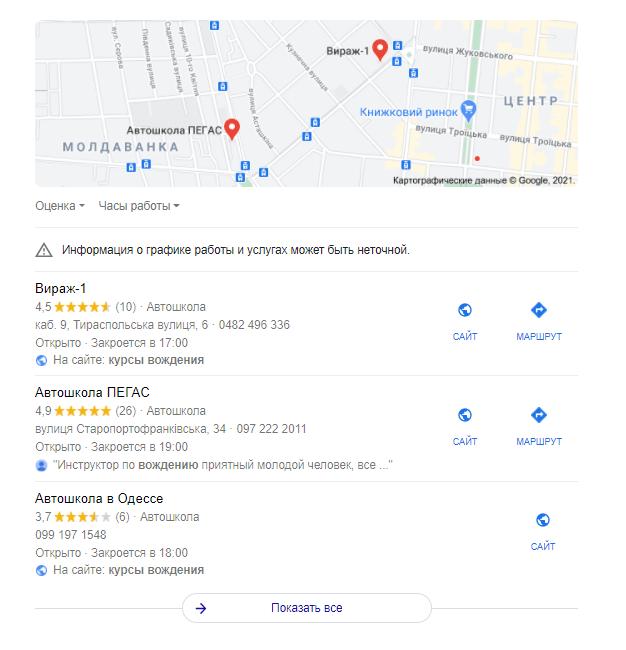 автошколы на Google My Business