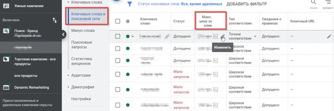 Редактирование ставок в поисковой кампании Google Ads