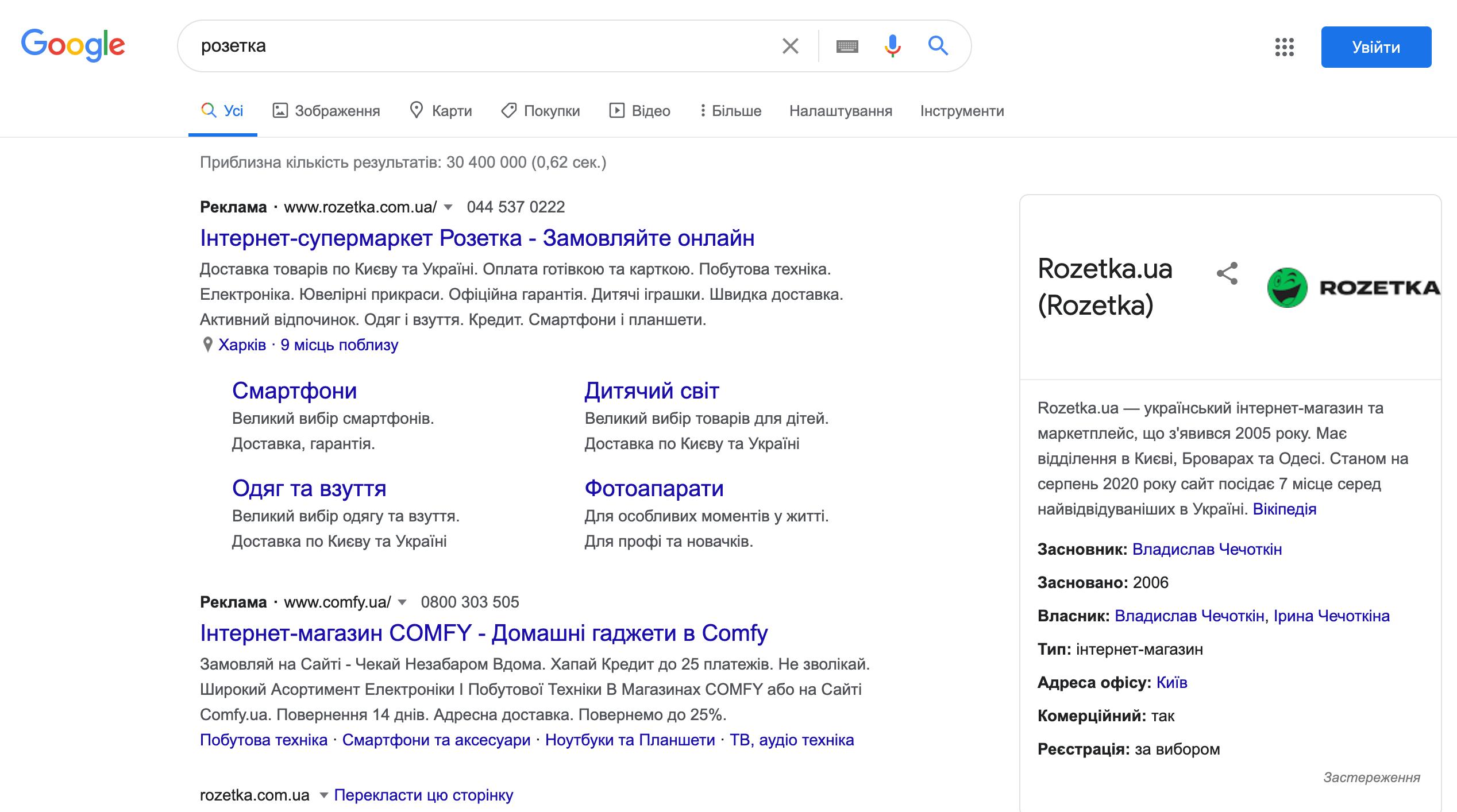Пошук за ключовим словом «розетка» виводить інтернет-магазин