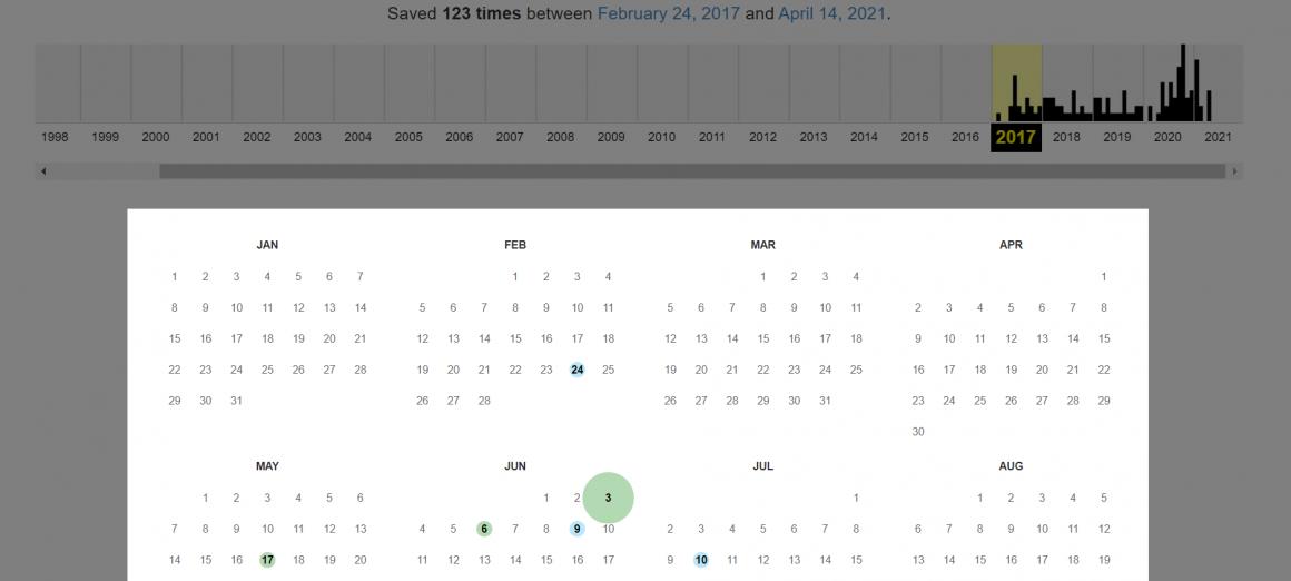 календарь копий веб-ресурса в Web Archive