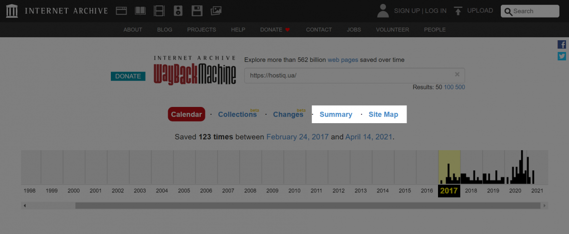 Summary и Site Map в Wayback Machine