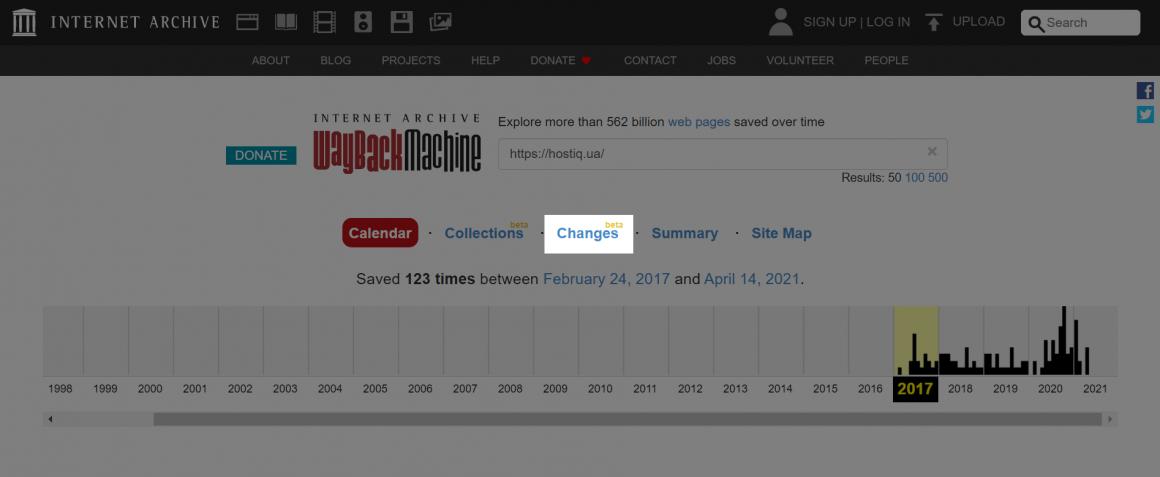 Changes в Wayback Machine