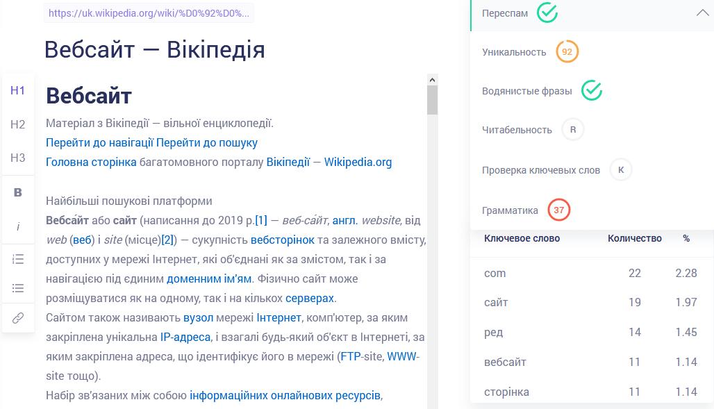 Copywritely SEO инструмент для проверки качества текста