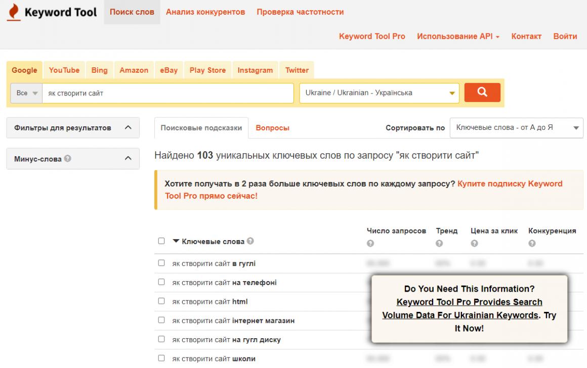 SEO сервис для подбора ключевых слов онлайн Keyword Tool