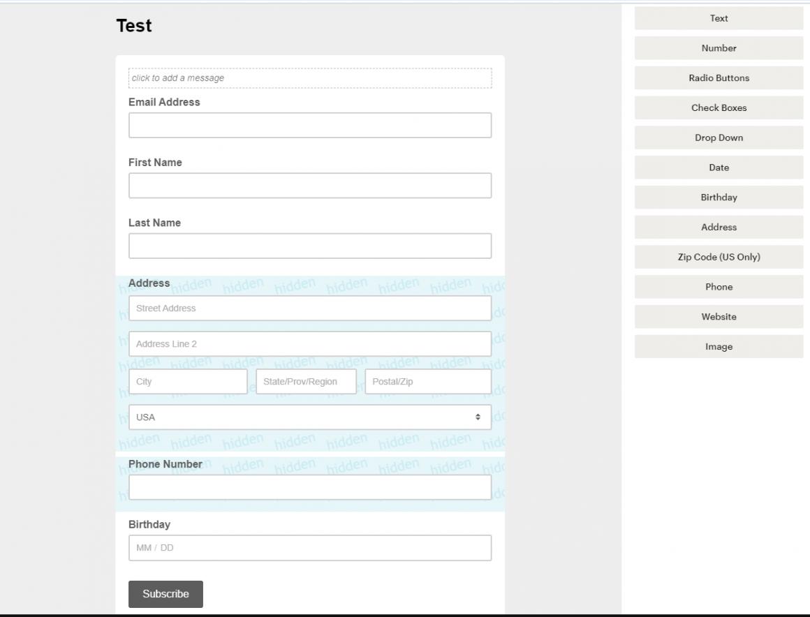 конструктор форм подписки mailchimp