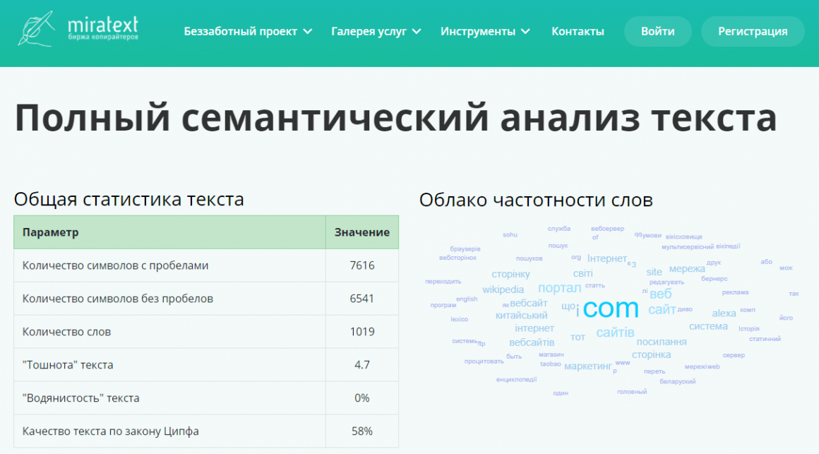 Miratext сервис для проверки семантического анализа текста