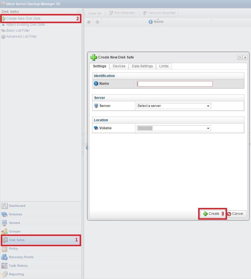 R1Soft_3Create New disk Safe