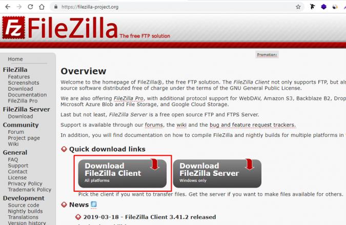 Главная страница официального сайта Filezilla