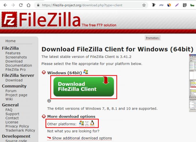 Загрузка Filezilla с официального сайта