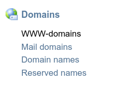 Меню WWW-domains