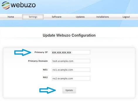 Смена IP адреса в панели Webuzo