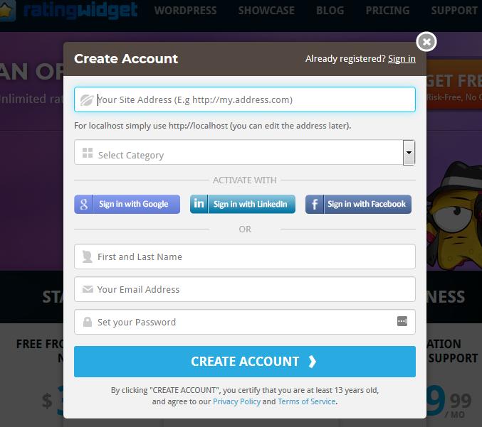 Создание аккаунта в Rating-Widget