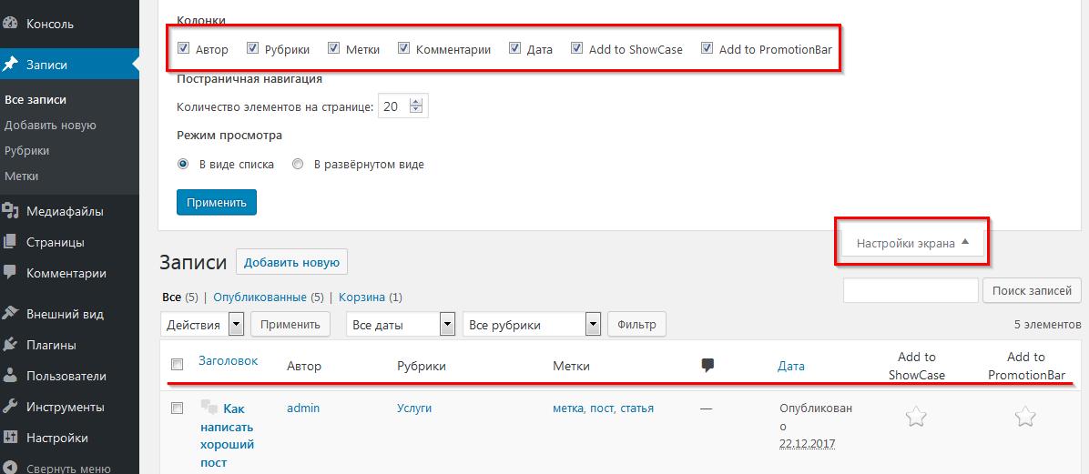 Настройка параметров записи в WordPress