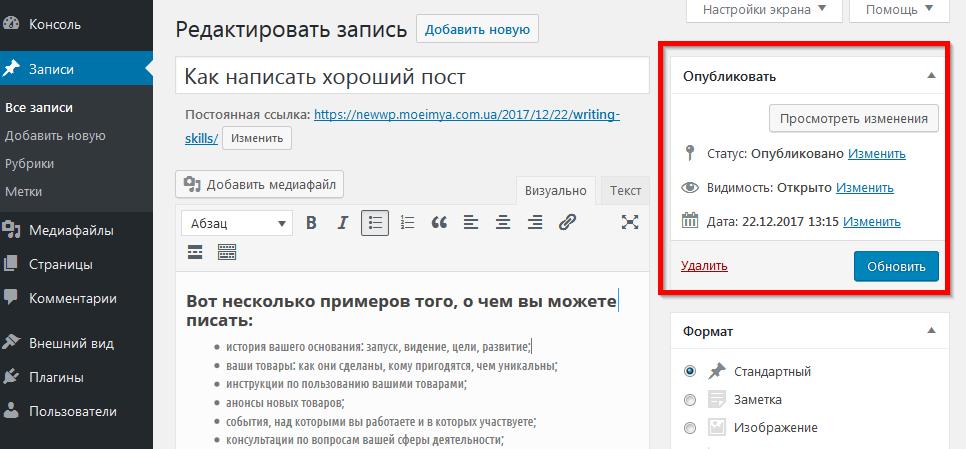 Поле Опубликовать запись в WordPress