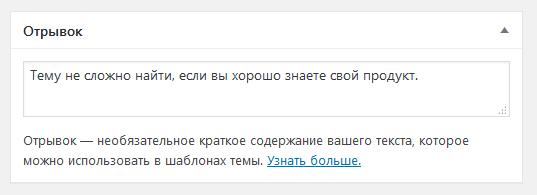 Поле Отрывок в записях WordPress