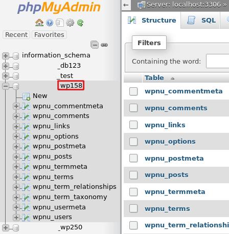 Выбор нужной базы данных в phpMyAdmin