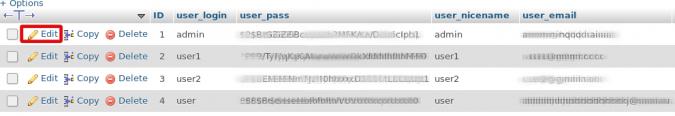 Редактирование кортежа пользователя в таблице