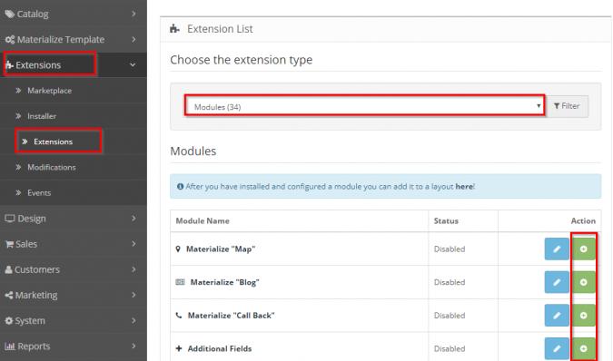 Добавление модулей с помощью административной страницы Opencart