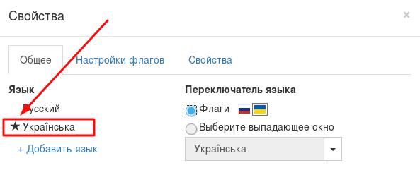 Выбор основного языка в конструкторе сайтов