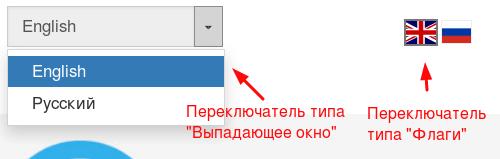 Вид переключателей языков в Sitepro
