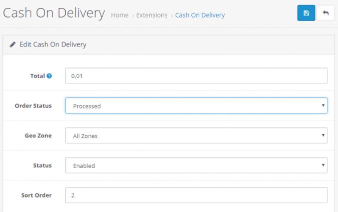 Настройка модуля оплаты при получении в Opencart