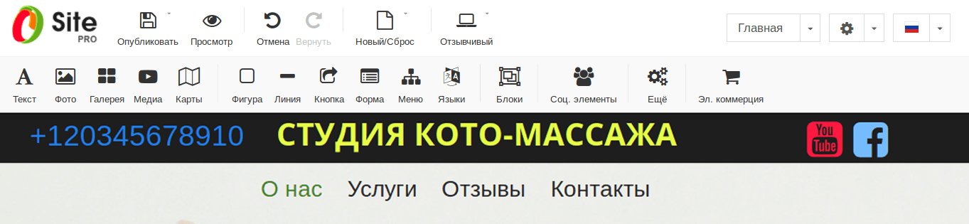 Иконки с логотипами соцсетей в шапке сайта
