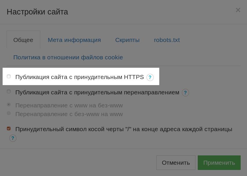 Публикация сайта по HTTPS в настройках конструктора