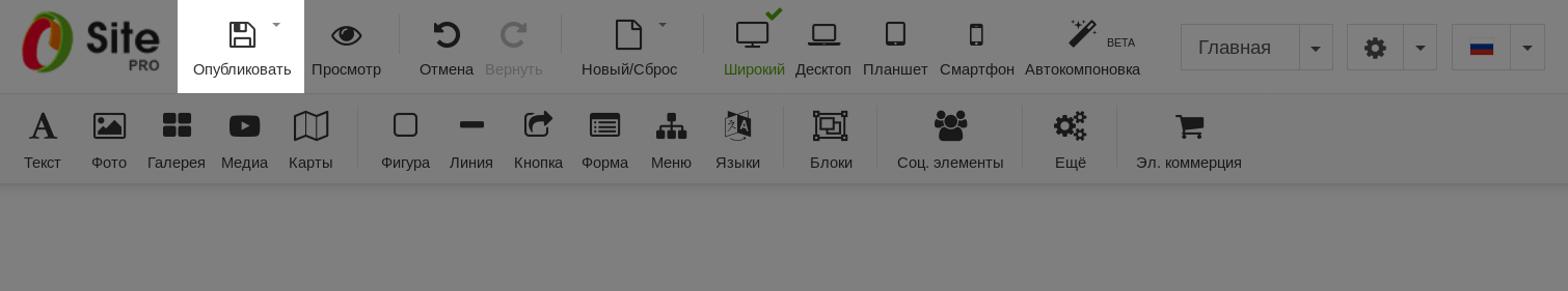 Кнопка публикации сайта