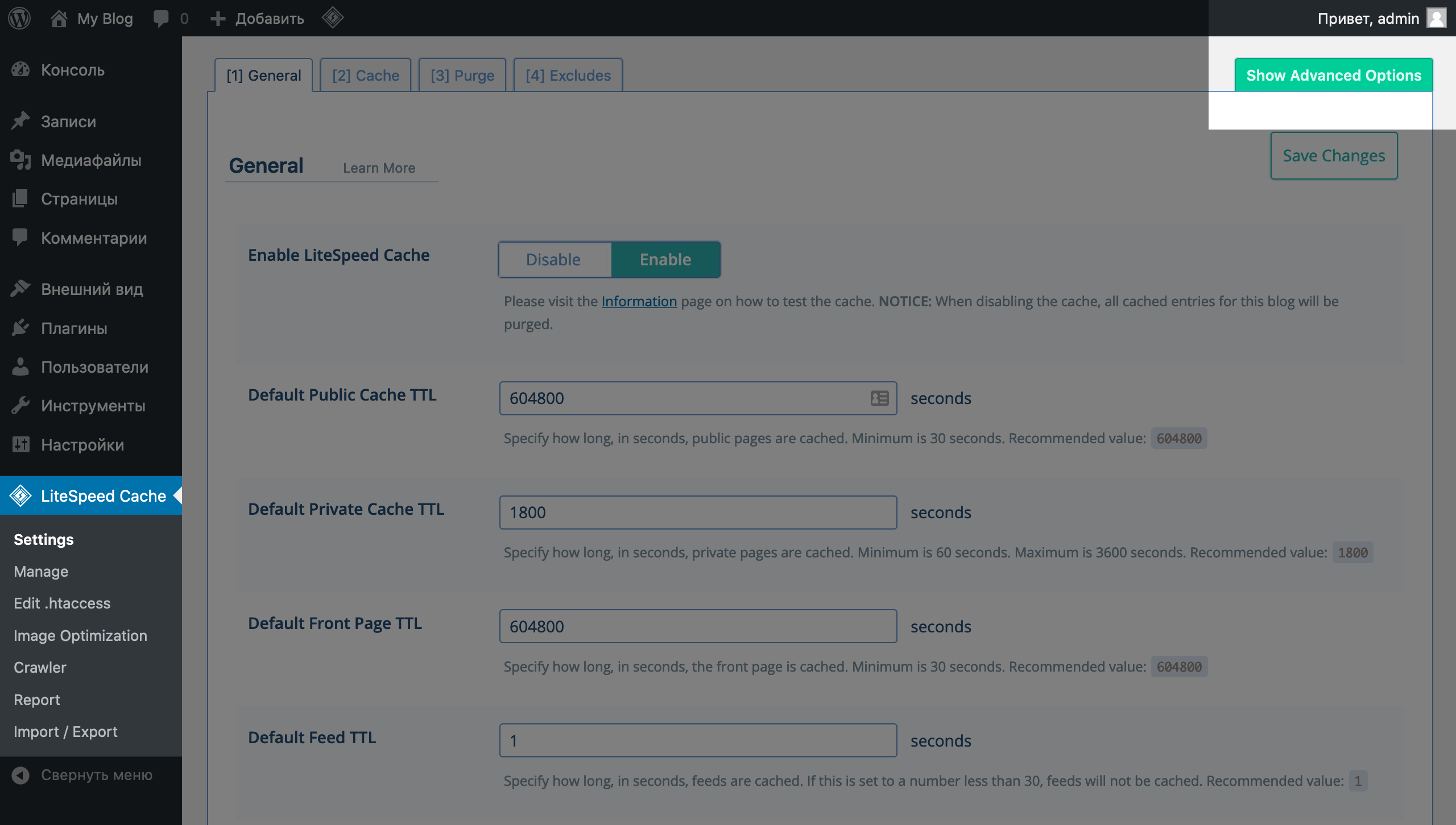 Подраздел Settings в меню управлением LiteSpeed Cache