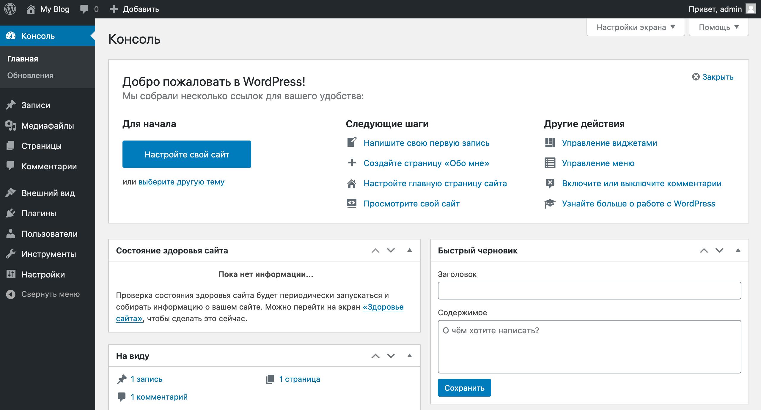 Как создать интернет-магазин на WordPress бесплатно: домашняя страница консоли вордпресс
