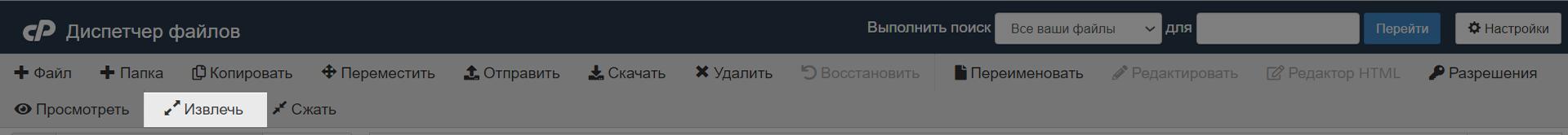 Как загрузить сайт на хостинг: кнопка для извлечения архива в диспетчере файлов cPanel