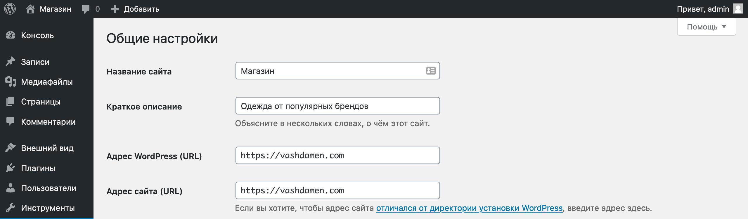 Простой интернет-магазин на WordPress: строки с названием и описанием сайта в настройках