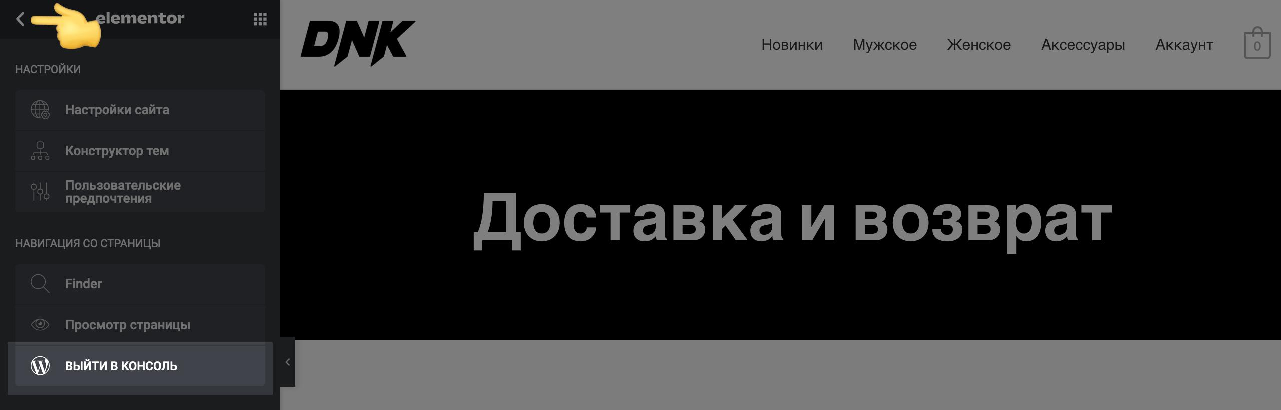 Интернет-магазин Вордпресс: кнопка выхода в консоль в Elementor