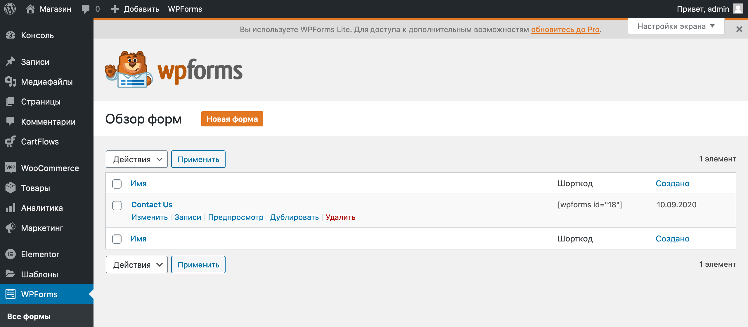 Как создать интернет-магазин на WordPress: домашняя страница раздела WPForms