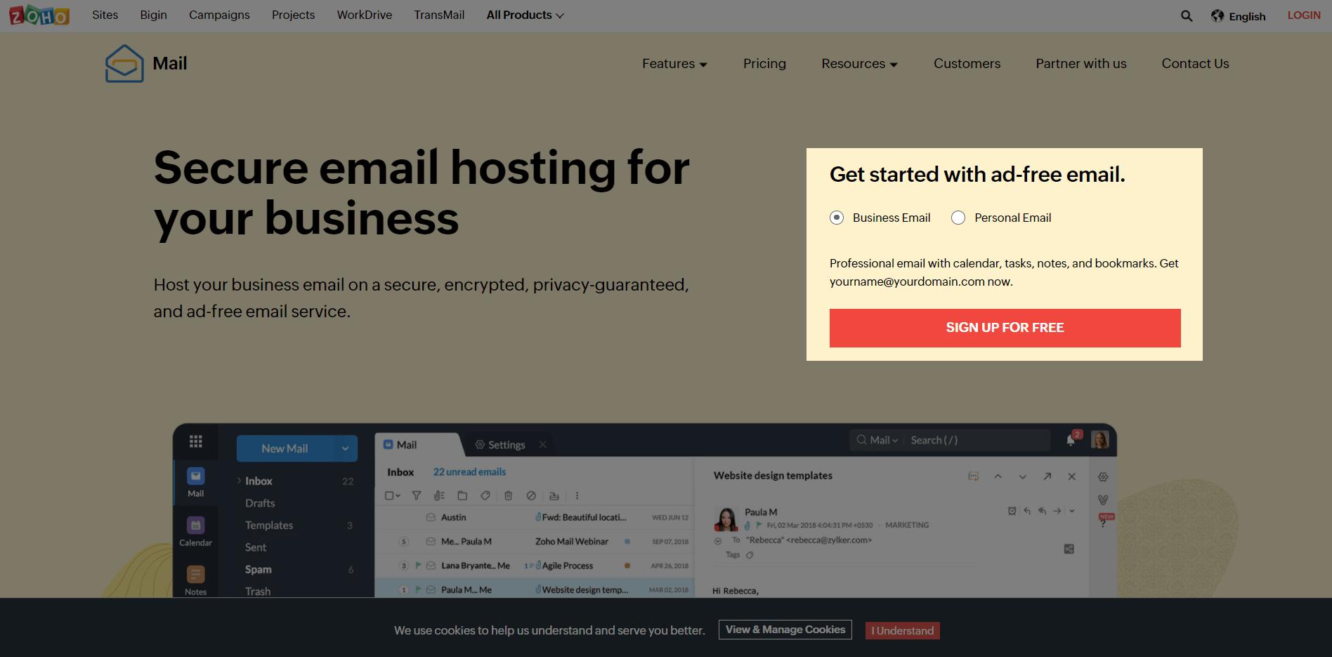 Почта на собственном домене. Главная страница почтового сервиса Zoho Mail.